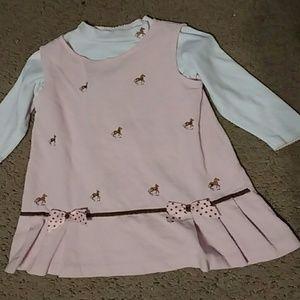 Pink corduroy horse dress
